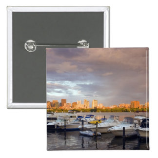 Boating on The Charles River at dusk 15 Cm Square Badge