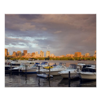 Boating on The Charles River at dusk Poster