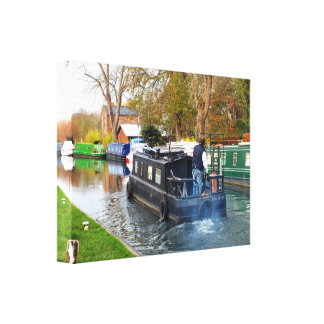 Boating on the Newbury canal Stretched Canvas Print