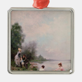 Boating on the River, 19th century Christmas Ornament