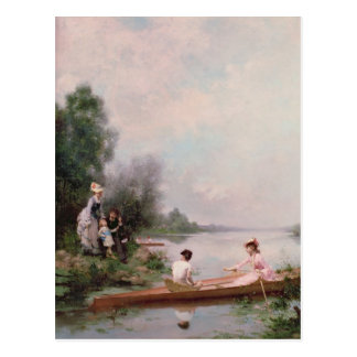 Boating on the River, 19th century Postcard