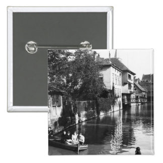 Boating on the river Gera at Erfurt 15 Cm Square Badge