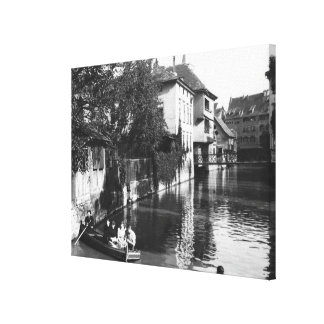 Boating on the river Gera at Erfurt Canvas Print