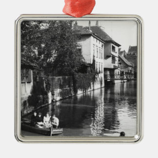 Boating on the river Gera at Erfurt Christmas Ornament