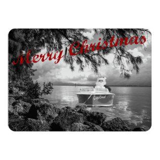 Boating Santa Claus Christmas Card 11 Cm X 16 Cm Invitation Card