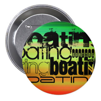Boating; Vibrant Green, Orange, & Yellow 3 Inch Round Button