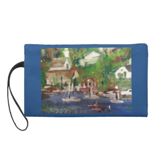 Boating Village painting Wristlet Clutches