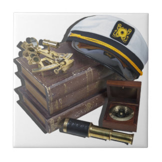 BoatingBooksCaptainSextantCompassTelescope042113.p Ceramic Tile