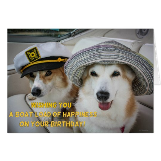 Boatload of happiness corgi birthday card