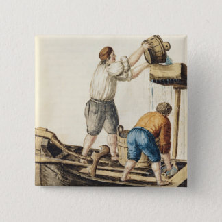 Boatmen Pouring Fresh Water into the Pipelines 15 Cm Square Badge