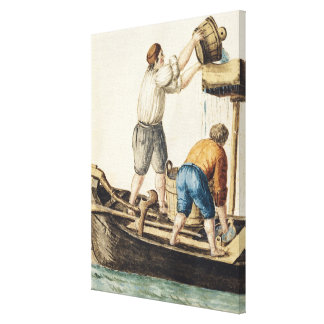 Boatmen Pouring Fresh Water into the Pipelines Canvas Print