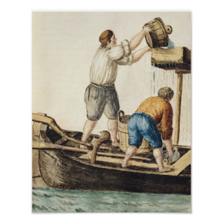 Boatmen Pouring Fresh Water into the Pipelines Poster