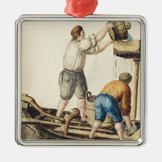 Boatmen Pouring Fresh Water into the Pipelines Silver-Colored Square Decoration