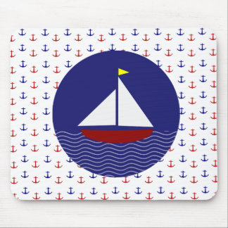 Boats and Anchors Nautical Mouse Pad