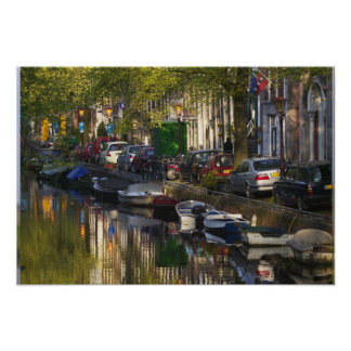 Boats and buildings along the canal belt, poster