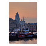Boats and the City of London at sunset Posters