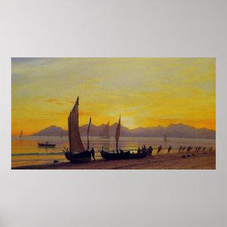 Boats Ashore at Sunset, Albert Bierstadt Poster