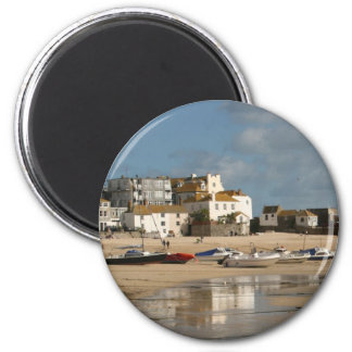 Boats at Low Tide, St Ives Harbour 6 Cm Round Magnet