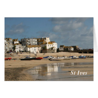 Boats at Low Tide, St Ives Harbour Greeting Card