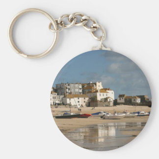 Boats at Low Tide, St Ives Harbour Key Ring