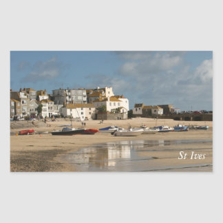 Boats at Low Tide, St Ives Harbour Rectangular Sticker