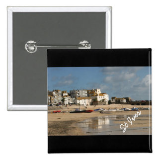 Boats at Low Tide, St Ives Harbour Square Button 2 Inch Square Button