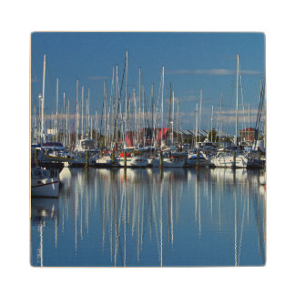 Boats at Nelson Marina 3 Wood Coaster