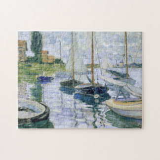 Boats at Rest Petit-Gennevilliers Monet Fine Art Jigsaw Puzzle