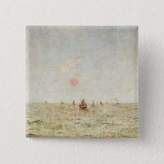 Boats at Sunrise (oil on panel) 15 Cm Square Badge