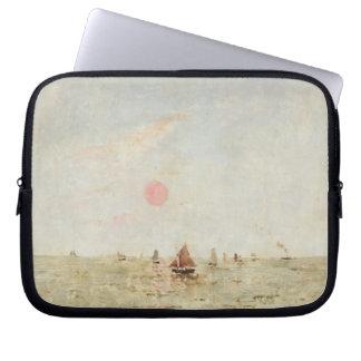 Boats at Sunrise (oil on panel) Laptop Sleeve