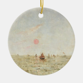 Boats at Sunrise (oil on panel) Round Ceramic Decoration