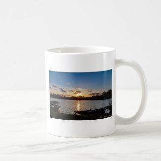 Boats at Sunset Basic White Mug