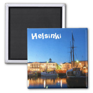 Boats at the Helsinki Market Square on evening Magnet