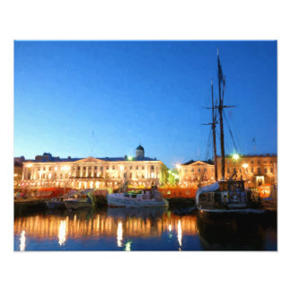 Boats at the Helsinki Market Square on evening Photograph