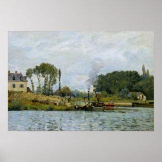 Boats at the lock at Bougival, 1873 Poster