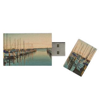 Boats At The Marina Wood USB 2.0 Flash Drive