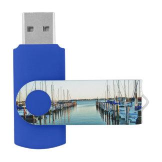 Boats At The Marina Swivel USB 2.0 Flash Drive