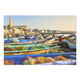 Boats being readied for fishing, The Church of Photo Print