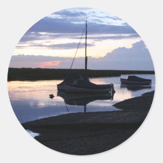 Boats Blakeney at dusk Classic Round Sticker