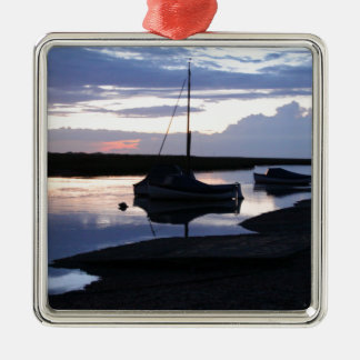 Boats Blakeney at dusk Silver-Colored Square Decoration