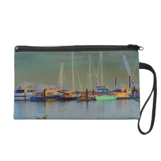 boats by dock surreal coloring florida wristlet purse