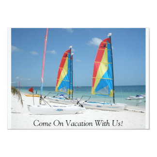 boats, Come On Vacation With Us! 13 Cm X 18 Cm Invitation Card