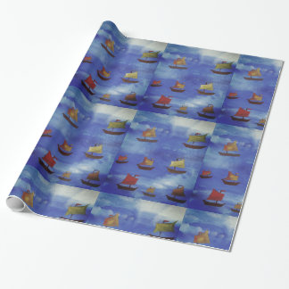 Boats Drawing  Glossy Wrapping Paper, 30 in x 6 ft Wrapping Paper