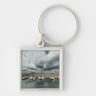 Boats In A Harbor Keychains