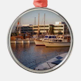 Boats In A Marina Christmas Ornament