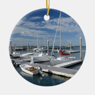 boats in a marina in Stonington, Connecticut Christmas Ornament