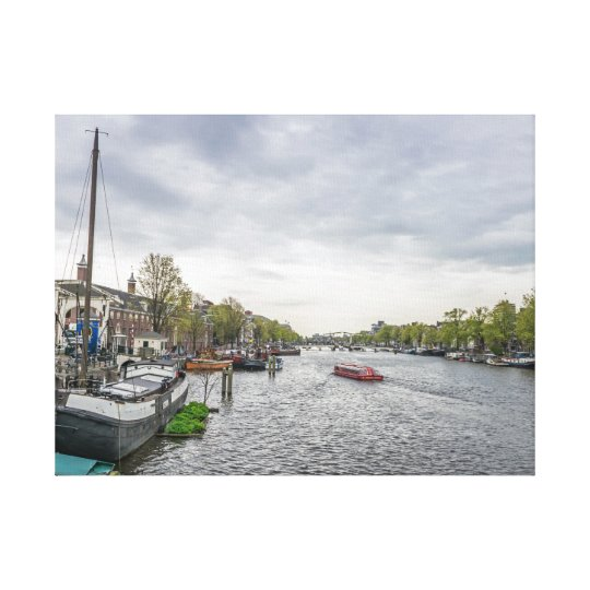 Boats in Amsterdam canvas print