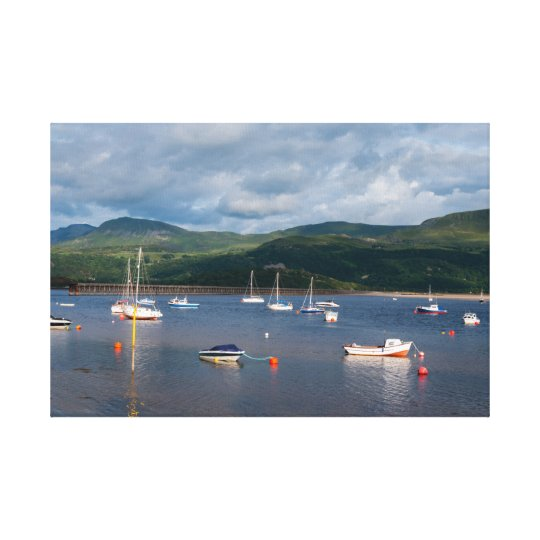 Boats in Barmouth Harbour Canvas Print