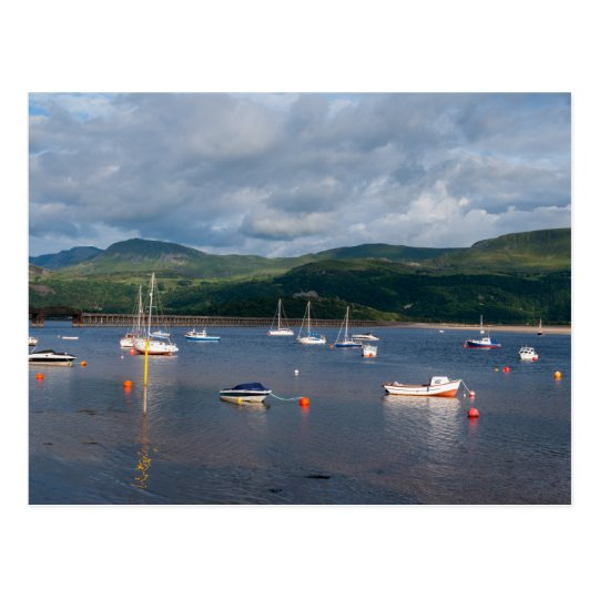 Boats in Barmouth harbour Postcard