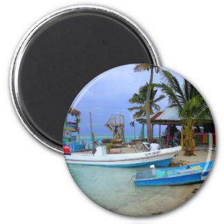Boats in Caye Caulker, Belize 6 Cm Round Magnet